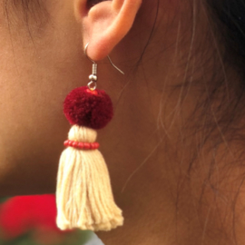 Earrings Pompon 1 Layer - Naturel/ Bordeau/ Roze