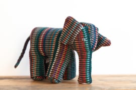Fair Trade handgeweven knuffel Olifant - Recycle Mix donker