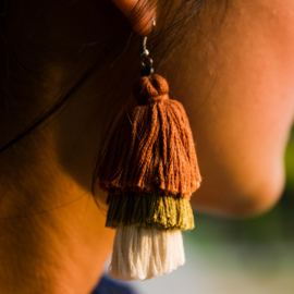 Earrings Tassel 3 Layers - Bruin/ Groen/ Naturel