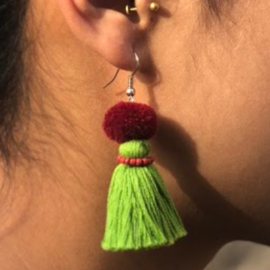 Earrings Pompon 1 Layer - Mosgroen/ Bordeau/ Roze