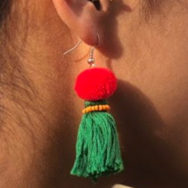 Earrings Pompon 1 Layer - Donkergroen/ Rood/ Oranje