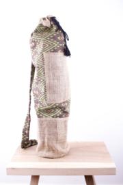 MuniMuni Yoga Bag - Green/ Jute with open Pocket