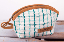M-Purse - Fijnere Turquoise/ Witte ruit