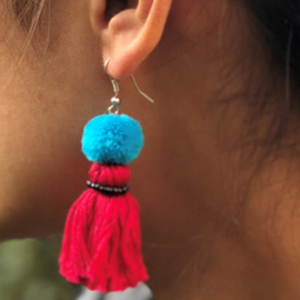 Earrings Pompon 1 Layer - Rood/ Blauw/ Zwart