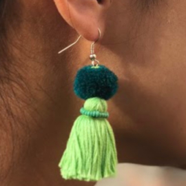 Earrings Pompon 1 Layer - Zacht Groen/ Turquoise/ Groen