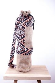 MuniMuni Yoga Bag - OrangeBlack/ Jute with open Pocket