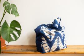 Tie Dye Tote Bag - ZigZag Indigo Blue