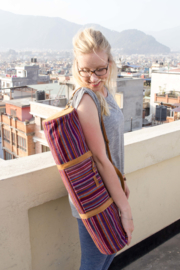 Aasha Zip Yoga Mat Bag by Woven - Paars Recycle Patroon