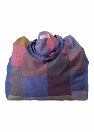 Patch tas - Blauw Bruin Rood