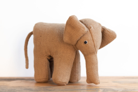 Fair Trade handgeweven knuffel Olifant - Effen Bruin