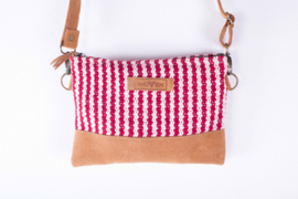 Zip purse with Handle - Rood/ Witte streep