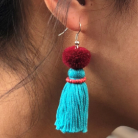 Earrings Pompon 1 Layer - Blauw/ Bordeau/ Roze