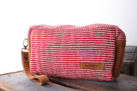 Make-up Bag - Rood/ Witte streep