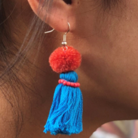 Earrings Pompon 1 Layer - Blauw/ Donkerder roze