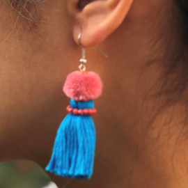 Earrings Pompon 1 Layer - Blauw/ Lichter roze