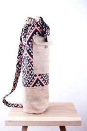 MuniMuni Yoga Bag - OrangeBlack/ Silk with closing Pocket