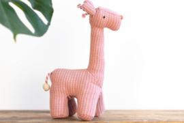 Fair Trade handgeweven knuffel Giraffe - Streep Patroon Roze