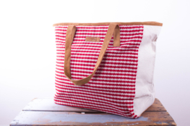 Tote Bag - Wit/ Rode streep