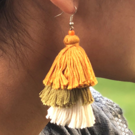 Earrings Tassel 3 Layers - Geel/ Groen/ Naturel