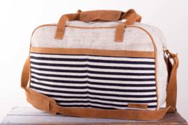 Tour bag - Zwart/ Witte streep