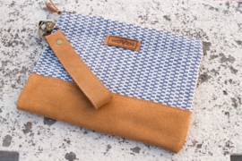 Zip purse Large - Blauw/ Wit Zip-Patroon