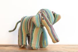Fair Trade handgeweven knuffel Olifant - Recycle Mintgroen