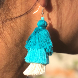 Earrings Tassel 3 Layers - Blauw/ Wit