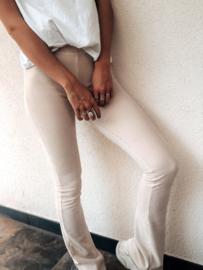 Flared Rib Legging Beige