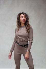 Fierce Knitted Top Ash Brown