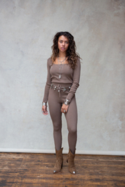 Fierce Knitted Pants Ash Brown