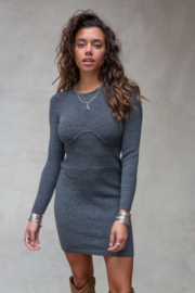 Isabel Knitted Dress Stone Grey