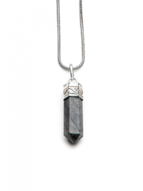 Caridina Black Crystal Necklace -73CM Silver