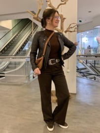 Shimmy High Neck Top Brown