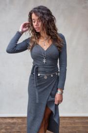 Gina Wrap Top Stone Grey