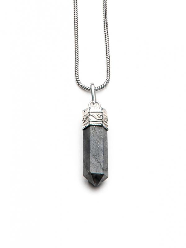 Caridina Black Crystal Necklace -73CM Silver