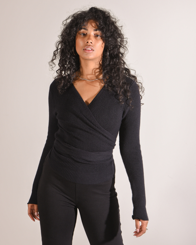Willy Knitted Wrap Top Black
