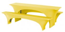 Biertisch Hussen Satz Fortune Dena Stretch, Farbe Gelb 126