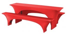 Biertisch Hussen Satz Fortune Dena Stretch, Farbe Rot 130
