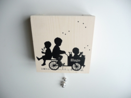 Muziekdoosje steigerhout babykamer van  geboortekaartje