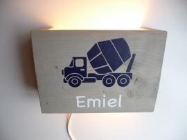 Lamp met naam cementwagen
