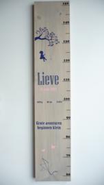 Groeimeter  van geboortekaartje kraamcadeau Lieve