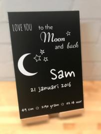 Geboortebord gekleurd love you to the moon