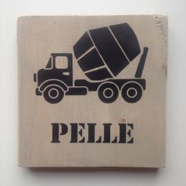 Naambord cementwagen