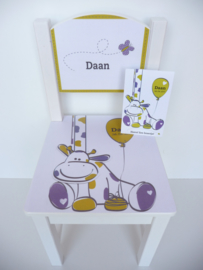 Geboortestoeltje met geboortekaartje Daan