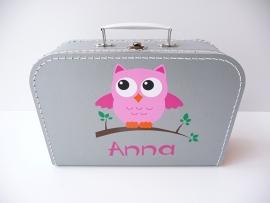 Koffertje met naam uil meisje