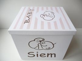 Geboortedoos voor Siem op basis van zijn geboortekaartje bijzonder kraamkado