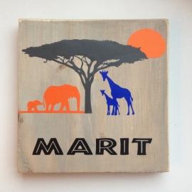 Naambord olifant en giraf