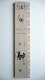 Geboortekaartje kraamkado groeimeter Sieb