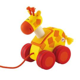 Houten trekfiguur giraf