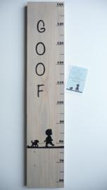 Persoonlijk cadeau kinderkamer met naam groeimeter van geboortekaartje